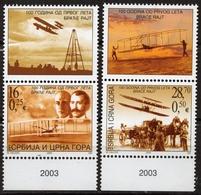 WRIGHT Brothers 100th Anniv. Of First Flight AIRPLANE Biplane + Label Cinderella Vignette MNH 2003 Serbia Montenegro - Aerei