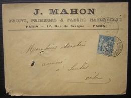 1901 J Mahon Fruits Primeurs & Fleurs Naturelles 12 Rue De Sévigné, Paris - Marcophilie (Lettres)