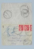 N° 283 Paix Bande De 2 Et Demi Sur Pneumatique TAD 4 Différents  Paris 21,75,VIII,87 Du 21/7/35 - Marcophilie (Lettres)