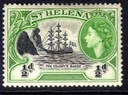 St Helena 1953 - 59 QE2 1/2d Green & Black MM SG 153 ( D48 ) - Saint Helena Island