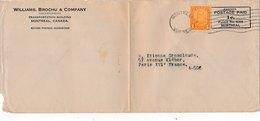 Lettre George V 1Cent 178 Montreal Canada Postage Paid 1c. Pour Paris - 1911-1935 Règne De George V