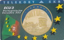 Denmark, P 020, ECU-Portugal, Mint, Only 1500 Issued, Coin, Flag, 2 Scans. - Denmark