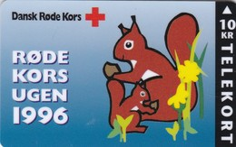 Denmark, P 055, Red Cross Week 1996, Squirrel, Flower, Mint 10 Kr, Only 1500 Issued, 2 Scans. - Denmark