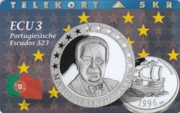 Denmark, P 059, ECU-Portugal,  Mint, Only 1300 Issued, Coin, Flag, 2 Scans. - Denmark