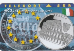 Denmark, P 080, Ecu - Italy, Coins, Flag, Mint Only 1300 Issued, 2 Scans. - Denmark