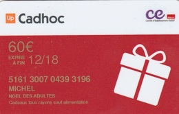 ## Carte  Cadeau  CADHOC   CE OUEST 60eu 12/18  ##    Gift Card, Giftcart, Carta Regalo, Cadeaukaart - Cartes Cadeaux