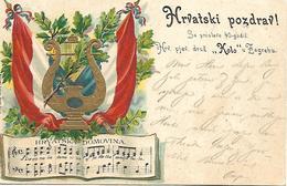 1902 - HRVATSKI POZDRAV, Prager Karte, Gute Zustand, 2 Scan - Kroatien