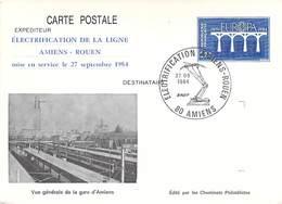 Entier Postal Type Europa CEPT 1984 / Repiquage Electrification Ligne Amiens Rouen 1984 - Postal Stamped Stationery
