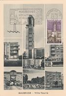 Maubeuge 1958 - Flamme Cité Du Travail Et De La Laine Sur Carte Avec Timbre Concordant - Marcophilie (Lettres)