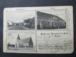 AK MANNSDORF B. ORTH A.d.Donau Gänserndorf Schule 1901 //  D*34900 - Gänserndorf
