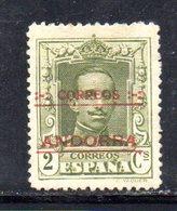 R761 - ANDORRA SPAGNOLA , Unificato N. 1  *  Linguella Invisibile. Dent 14 Non Catalogata - Neufs