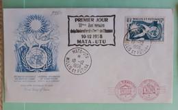 19984# WALLIS ET FUTUNA LETTRE 10ème ANNIVERSAIRE DECLARATION DES DROITS DE L' HOMME 1er JOUR FDC Obl MATA UTU 1958 - Covers & Documents