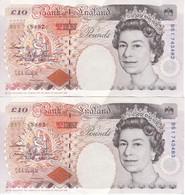 PAREJA CORRELATIVA DE REINO UNIDO DE 10 POUNDS DEL AÑO 1993 CALIDAD EBC (XF) (BANK NOTE) - 1952-… : Elizabeth II