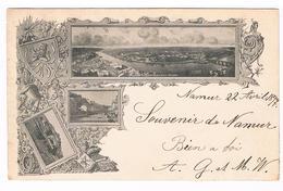 CPA Pionnière Dos Non Divisé : NAMUR , 3 Vues - Timbre Exposition Internationale Tervueren Et Timbre St Michel 1897 - Namen