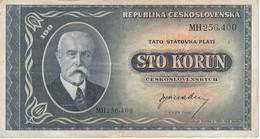 BILLETE DE CHECOSLOVAQUIA DE 100 KORUN DEL AÑO 1945 (BANKNOTE) - Tchécoslovaquie