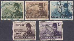 EGITTO - 1947/1948 - Serie Completa Usata : Yvert 256/260 Per Complessivi 6 Valori. - Egitto