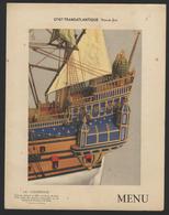 MENU FRENCH LINE - PAQUEBOT NORMANDIE Classe Cabine (1ère Classe) - Déjeuner Du 20/06/1936 - Boats