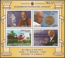 Uruguay,  Scott 2019 # 1607,  Issued 1996,  S/S Of 4,  MNH,  Cat $ 7.00,  Popes - Uruguay