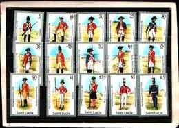 73299)  SANTA LUCIA-LOTTO FRANCOBOLLI -MNH**-1985 UNIFORMI MILITARI-15 V. - St.Lucia (1979-...)
