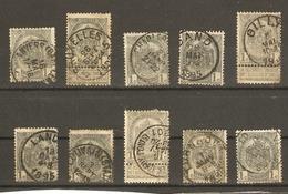 Belgique 1893/1900 - 53 - Petit Lot De 10°- Anvers - Charleroi - Gand - Gilly - Landen - Louvain - Marchienne - Turnhout - 1893-1907 Armoiries