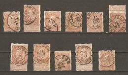 Belgique 1893/1900 - Léopold II Fine Barbe 57- Petit Lot De 11° - Alost - Ath - Awans - Braine - Jodogne - Laeken- Namu - 1884-1891 Léopold II