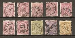Belgique 1884/91 - Léopold II - Petit Lot De 10° - Anvers - Courtrai - Jemappes- La Louvière - Liège - Obourg - Verviers - 1884-1891 Léopold II