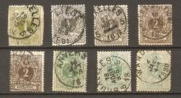 Belgique 1884/88 - Petit Lion Avec Chiffres  - Petit Lot De 8° - Anvers - Bruxelles - Liège - Wandre - 1866-1867 Petit Lion