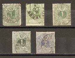 Belgique 1869/83 - Lion Couché/chiffre - Cob 26/27 - Petit Lot De 5° - Hoegaerde - Bourg Leopold - Seraing - Tournai - 1869-1888 Lion Couché