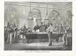 GRAVURE De 1857...Le Salon De 1857. Un Estaminet, Par M. Victor CHAVET... BILLARD - Estampes & Gravures