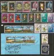 Noël à L'île  NORFOLK,  Séries Noël émises De 1970 à 1979.  23 Timbres + Un Bloc-Feuillet Oblitérés, 1 ère Qualité - Ile Norfolk