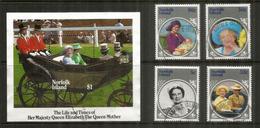 The Life And Times Of Her Majesty Queen Elisabeth,   Série + Bloc-feuillet Oblitéré, 1 ère Qualité - Ile Norfolk