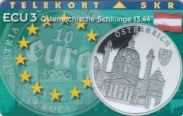 Denmark, P 095, Ecu - Austria, Flag, Mint Only 1000 Issued, 2 Scans. - Denmark
