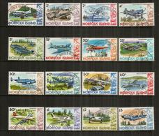Histoire De L'Aviation (C-130,DC-4,DC-3,Cessna,Kittyhawk,Gypsy MothGrumman,etc) 16 Timbres Oblitérés 1 ère Qualité - Norfolk Island