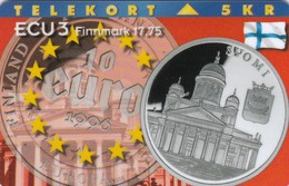 Denmark, P 107, Ecu - Finland, Coins And Flag, Mint Only 1000 Issued, 2 Scans. - Denmark