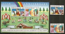 Norfolk Island Cattle Breeding & Horticultural Show,  2 Timbres + Bloc-feuillet Oblitérés 1 ère Qualité - Ile Norfolk