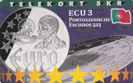 Denmark, P 204,  ECU-Portugal,  Mint, Only 800 Issued, Coin, Flag, 2 Scans. - Denmark