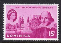 DOMINICA - 1964 SHAKESPEARE BIRTH ANNIVERSARY STAMP FINE MNH ** SG182 - Dominica (...-1978)