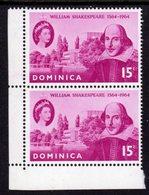 DOMINICA - 1964 SHAKESPEARE BIRTH ANNIVERSARY STAMP CORNER MARGIN PAIR FINE MNH ** SG182 X 2 - Dominica (...-1978)