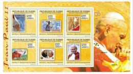 GUINEA 2009 POPE STAMP ON STAMP 6V PERF 13487-4 - Stamps On Stamps