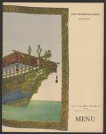 MENU FRENCH LINE - PAQUEBOT NORMANDIE Classe Touriste- Diner Du 20 JUIN 1937 - Boats
