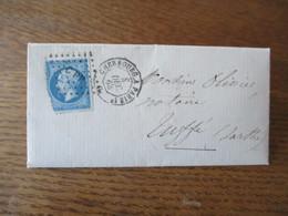 CACHET CHERBOURG A PARIS 1° 4 DEC. 63 6 LOSANGE PETITS CHIFFRES C P 1° SUR LETTRE BERNAY 4 Xbre 1863 - 1849-1876: Période Classique