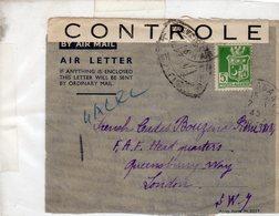 Algérie 1940-49 >DEVANT DE LETTRE N° 183 -seul Sur Lettre Par Avion Pour Londres Censure :CONTROLE - Algérie (1924-1962)