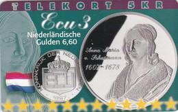 Denmark, P 221,  ECU-Netherlands,  Mint, Only 800 Issued, Coins, Flag, 2 Scans - Denmark