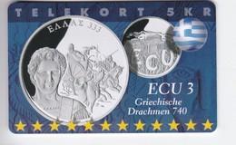 Denmark, P 304, Ecu - Greece, Coins, Flag, Mint, Only 700 Issued, 2 Scans.  Please Read - Denmark