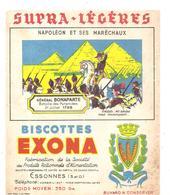 Buvard Biscottes EXONA Napoléon Et Ses Maréchaux Général Bonaparte Batailles De Pyramides 21 Juillet 1798 - Biscottes
