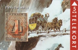 Denmark, TP 041, 5kr, Rare Stamps - Zürich Nr.1, Mint, Only 3000 Issued, Stamp On Card. - Denmark