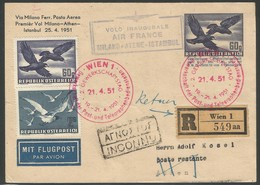 1951 Austria Postally Travelled Postal Stationery With Special Cancel And Milan - Athens - Istanbul First Flight Cachet - 1945-60 Lettres