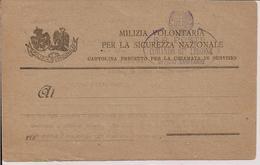 MILIZIA VOLONTARIA PER LA SICUREZZA NAZIONALE, CARTOLINA PRECETTO PER LA CHIAMATA IN SERVIZIO-EMBLEMA MILIZIA NAZIONALE, - 1939-45