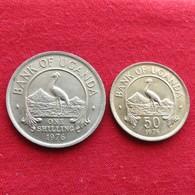 Uganda 2 Coins - 50 Cents + 1 Shilling 1976 Ouganda - Ouganda
