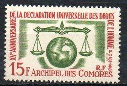 AFRIQUE - ARCHIPEL DES COMORES - 1963 - N° 28 - (15è Anniversaire De La Déclaration Des Droits De L'Homme) - Isole Comore (1950-1975)